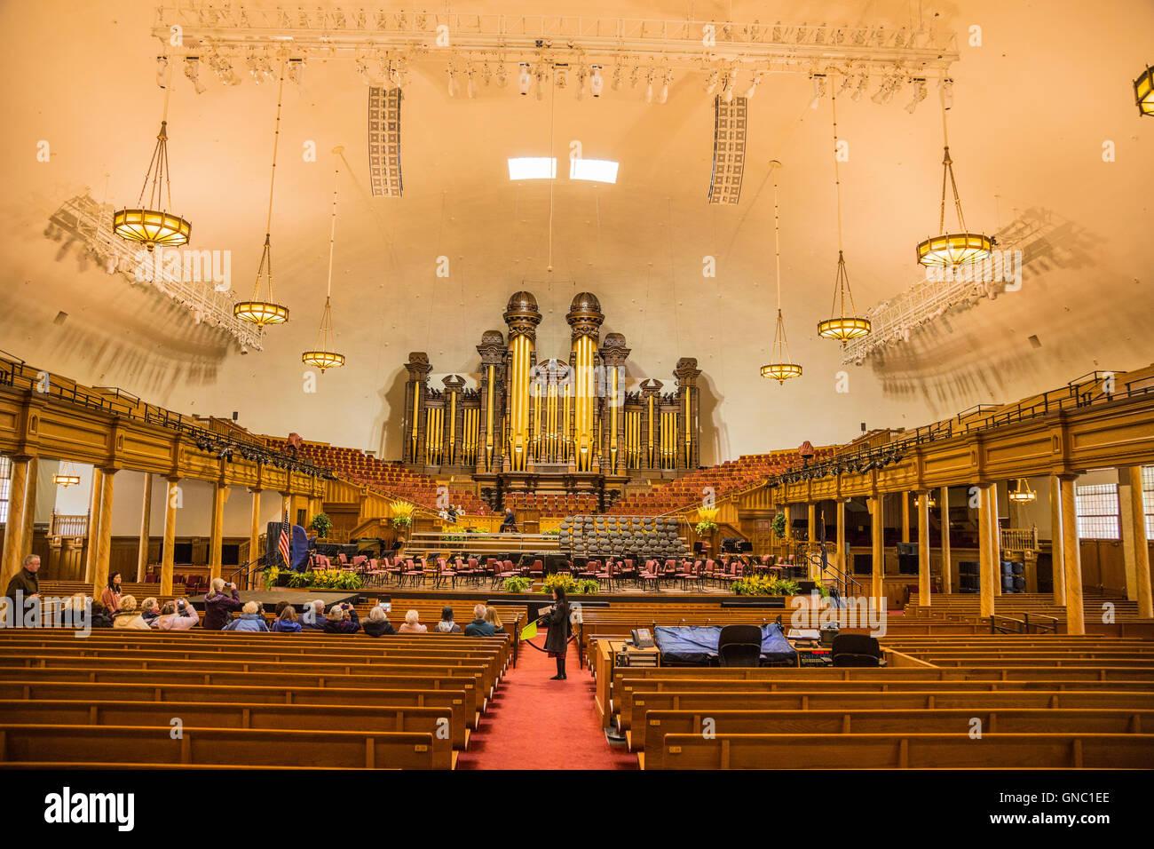 Interior Mormon Temple Of Latter Day Saints In Salt Lake