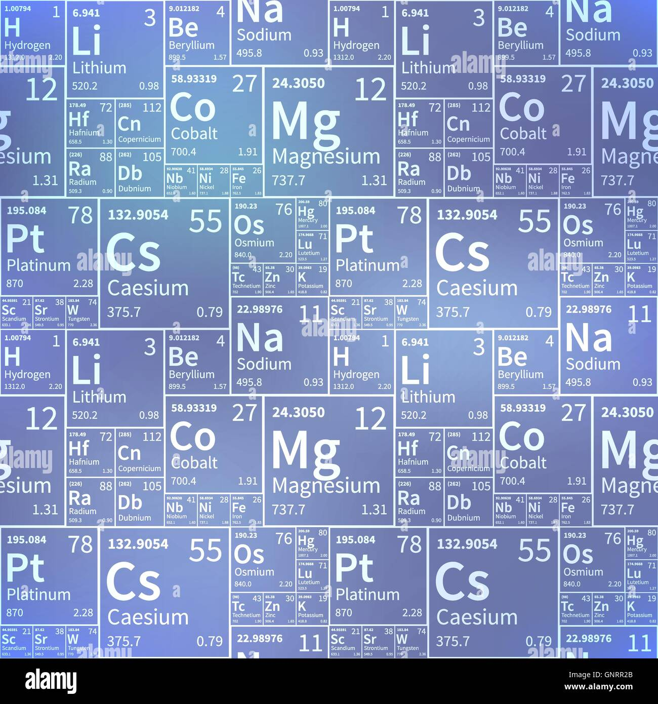 chemical elements from periodic table white icons on