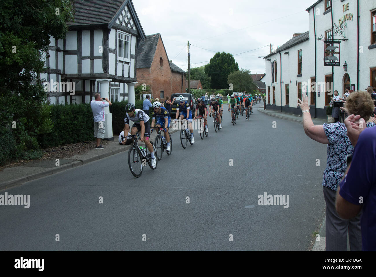 Cheshire, UK. 6th September, 2016. Peloton early in the race, passing through Church Minshull in the Cheshire plain. Stock Photo