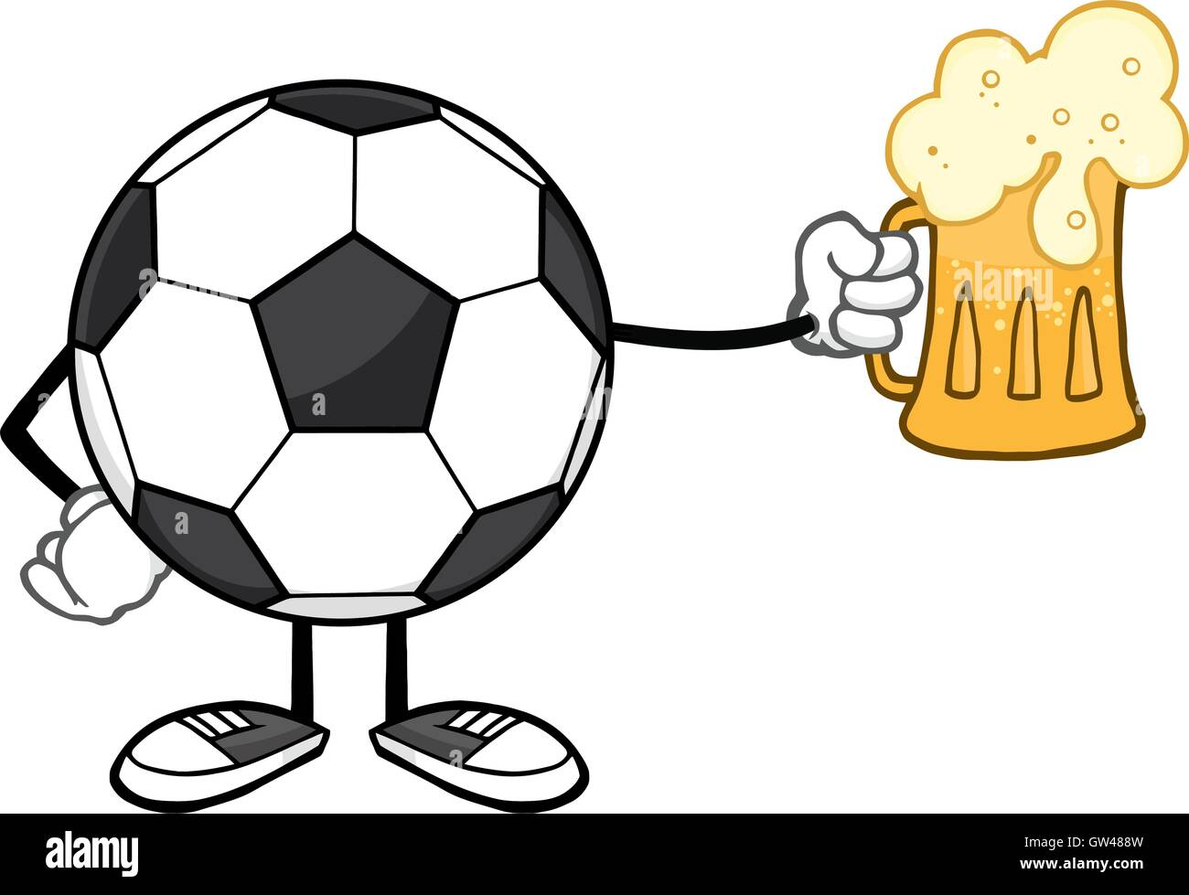 Cartoon Characters W Glasses : Soccer ball cartoon mascot character holding a beer glass