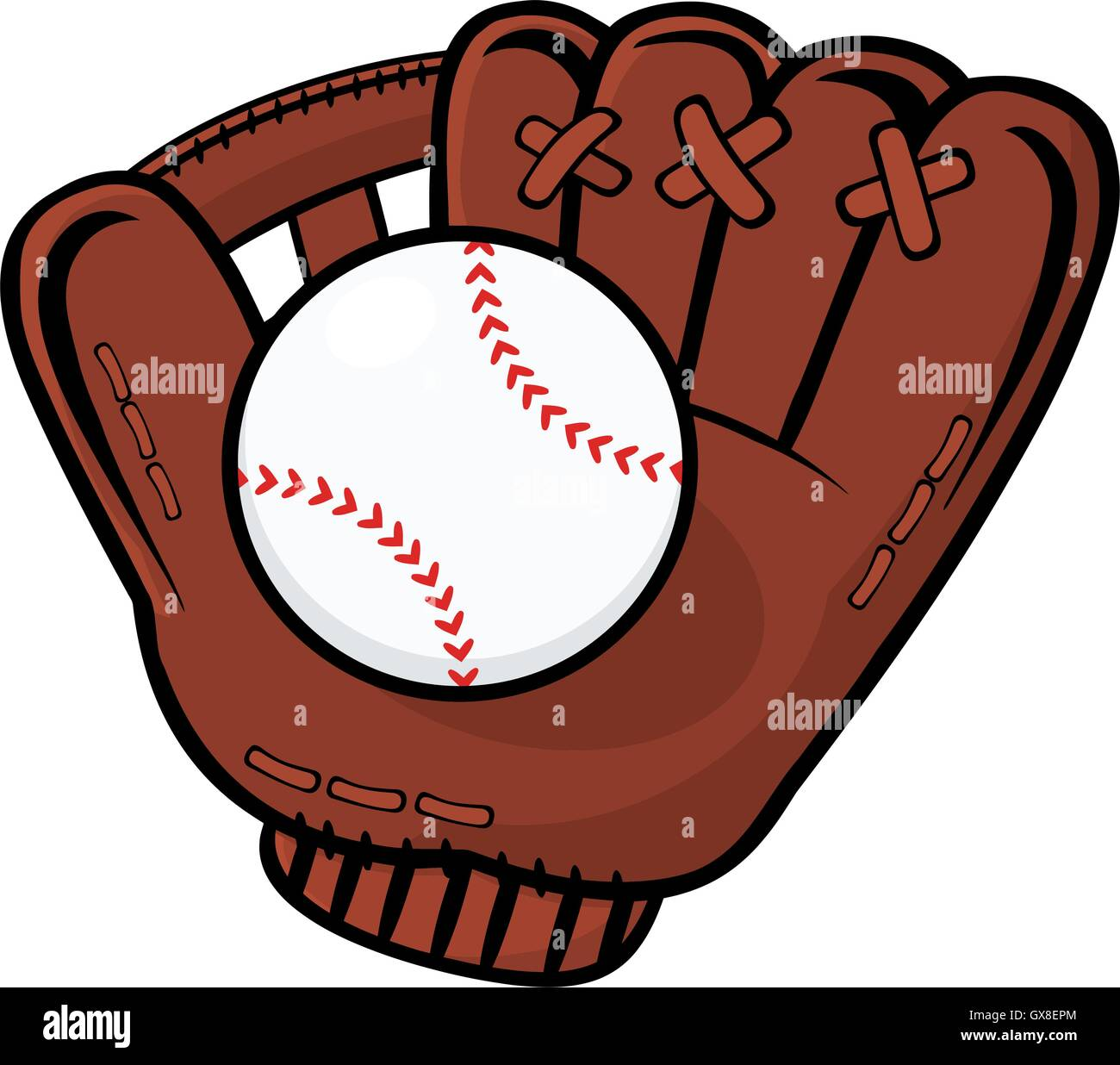 baseball glove and ball illustration isolated on white
