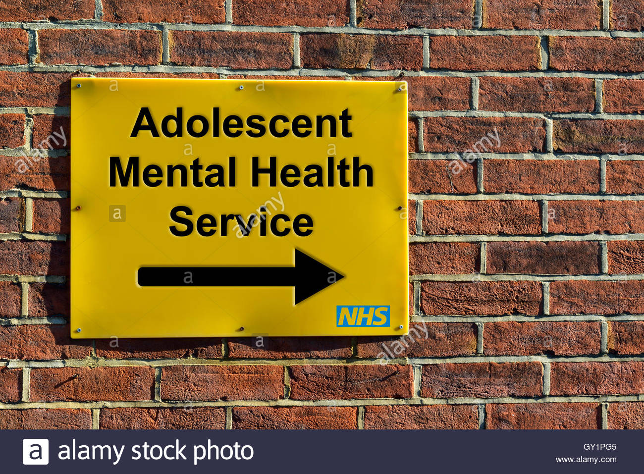 Adolescent Mental Health Service, NHS wall mounted direction sign. Stock Photo