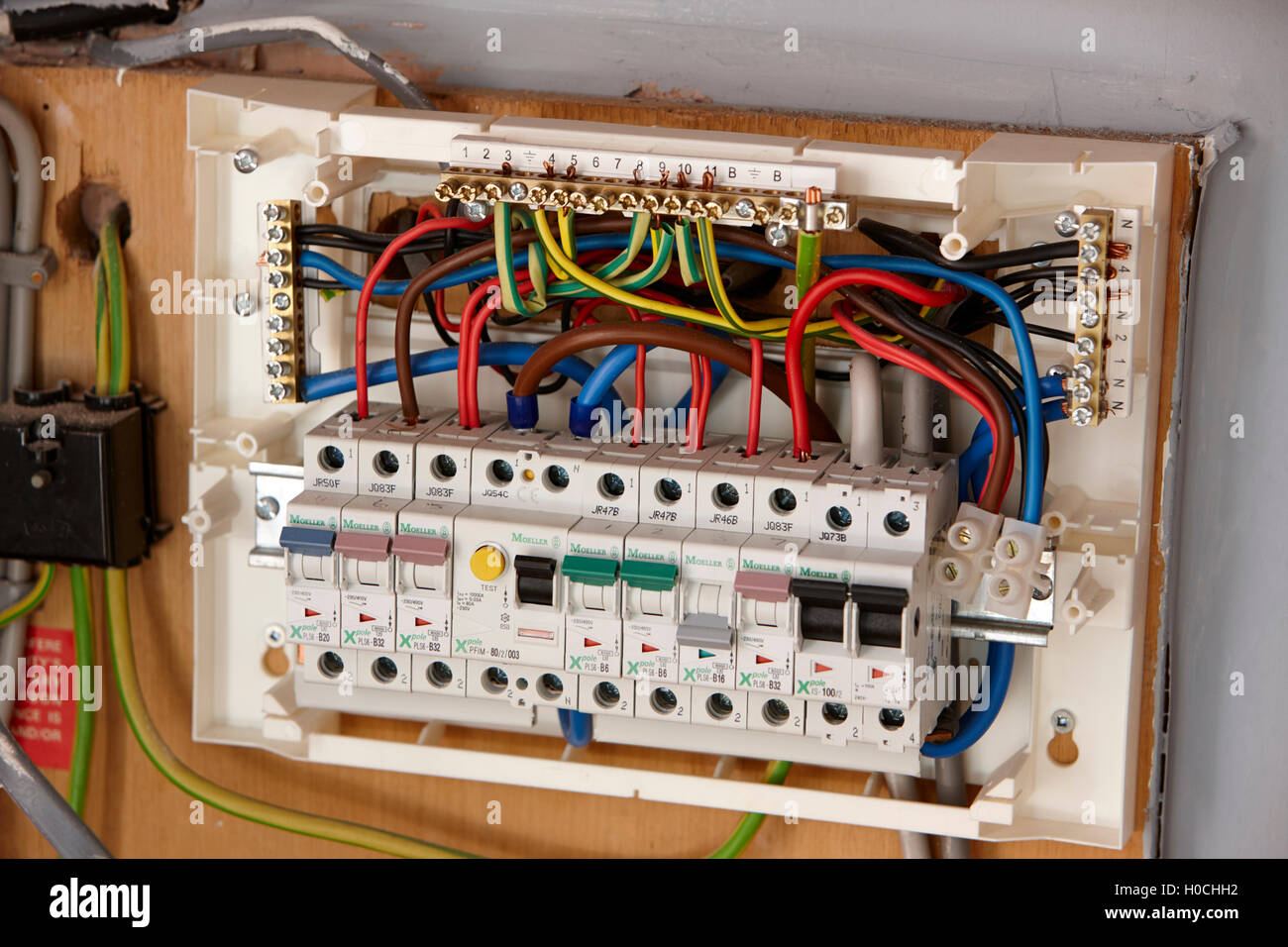 exposed wiring in domestic consumer unit circuit breaker