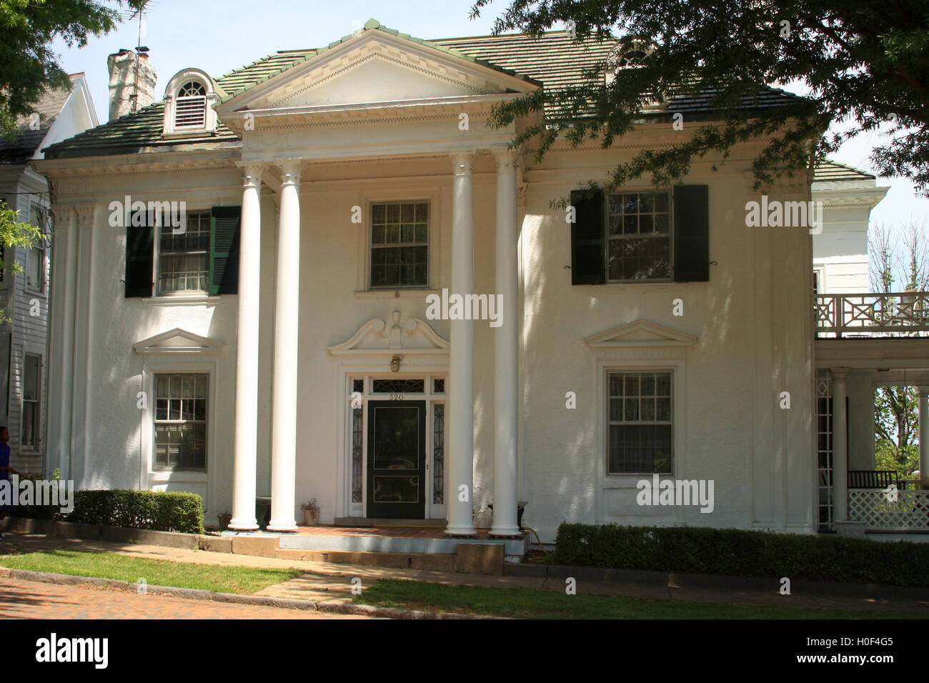 White house with columns in historic district of lynchburg for Home columns