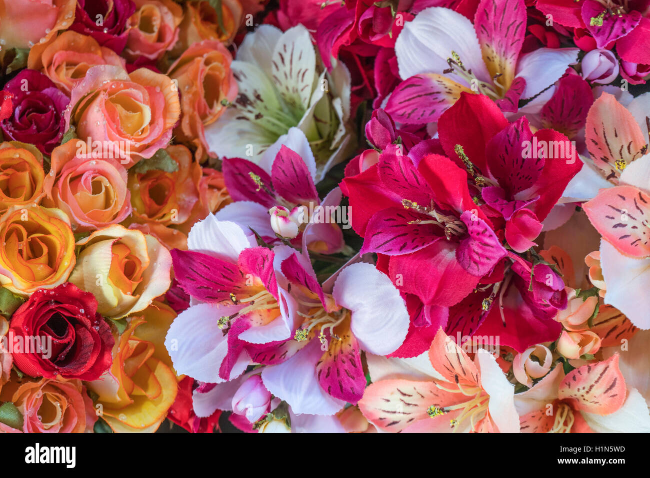 Silk Flowers , Old City Center Nice, Vieille Nice, Alpes Maritimes, Provence, French Riviera, Mediterranean, France, Stock Photo