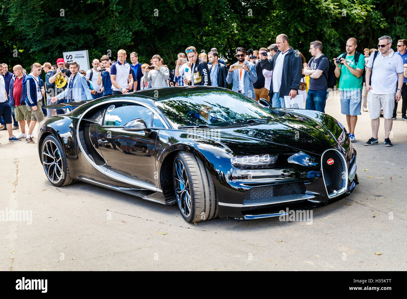 2016 bugatti chiron with driver andy wallace in the paddock at the stock phot. Black Bedroom Furniture Sets. Home Design Ideas