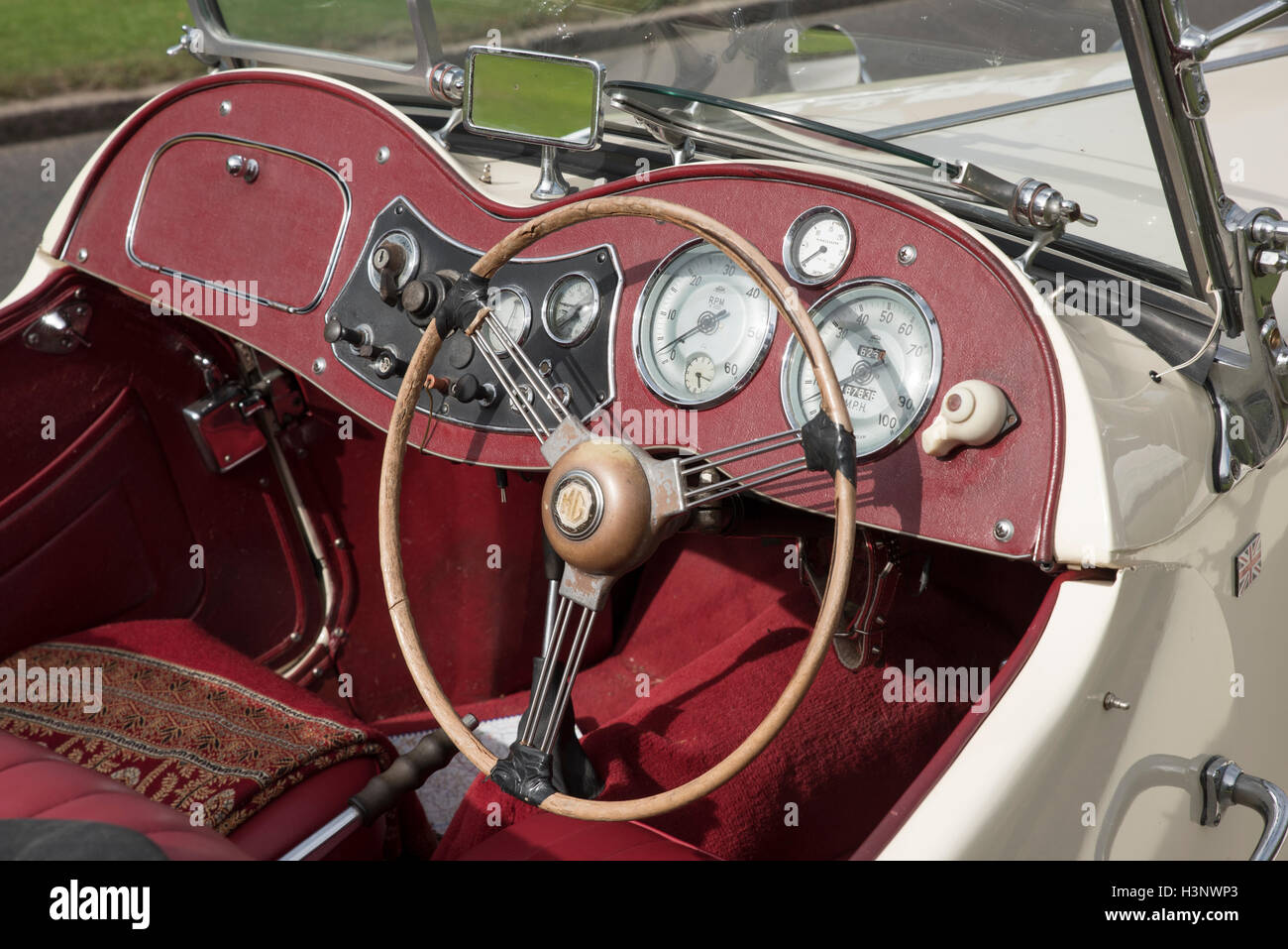 british veteran mg tc sports car red interior dashboard steering stock photo royalty free image. Black Bedroom Furniture Sets. Home Design Ideas