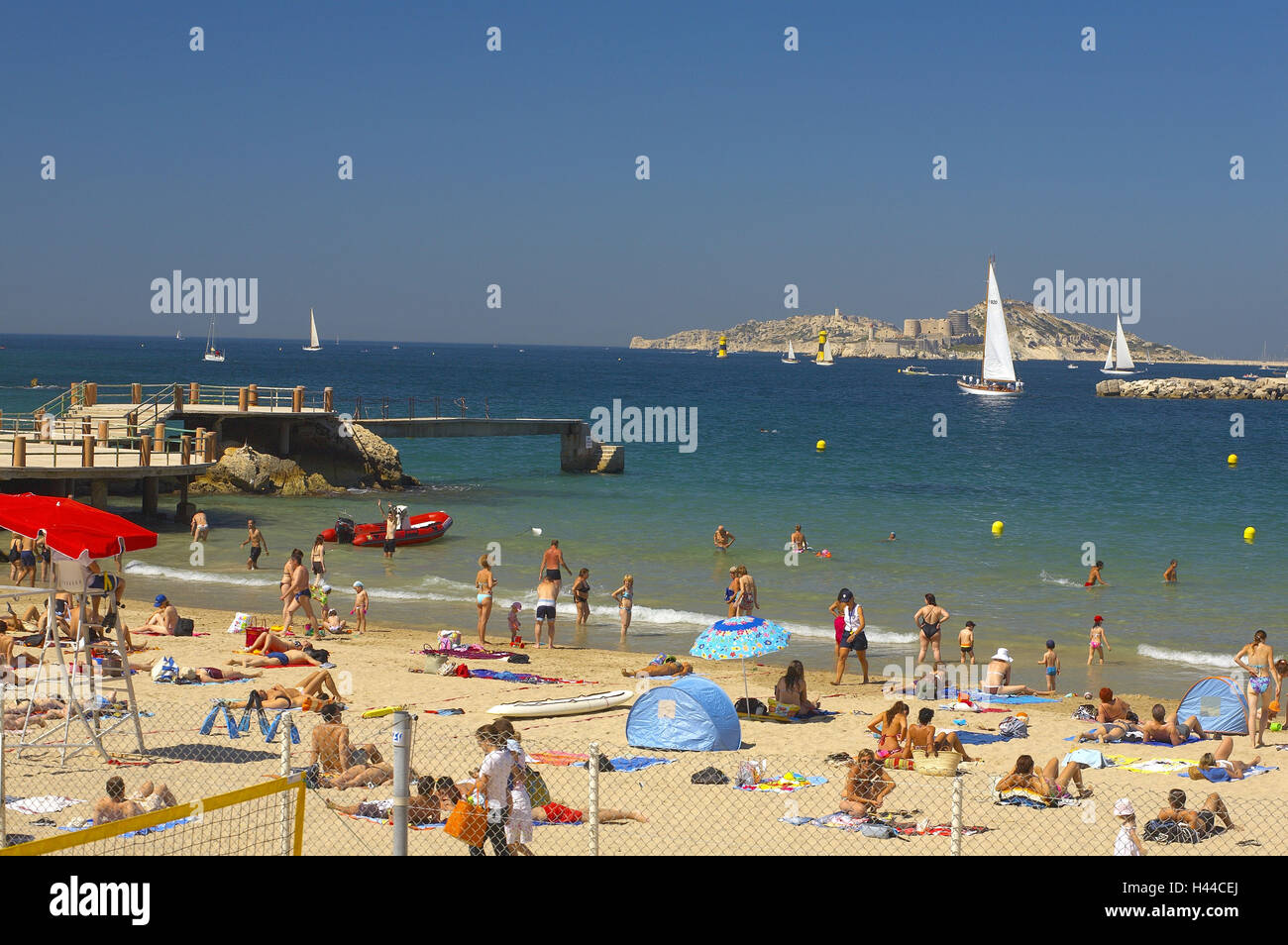 France, Provence, Marseille, beach, tourist, no model release Stock Photo, Royalty Free Image ...