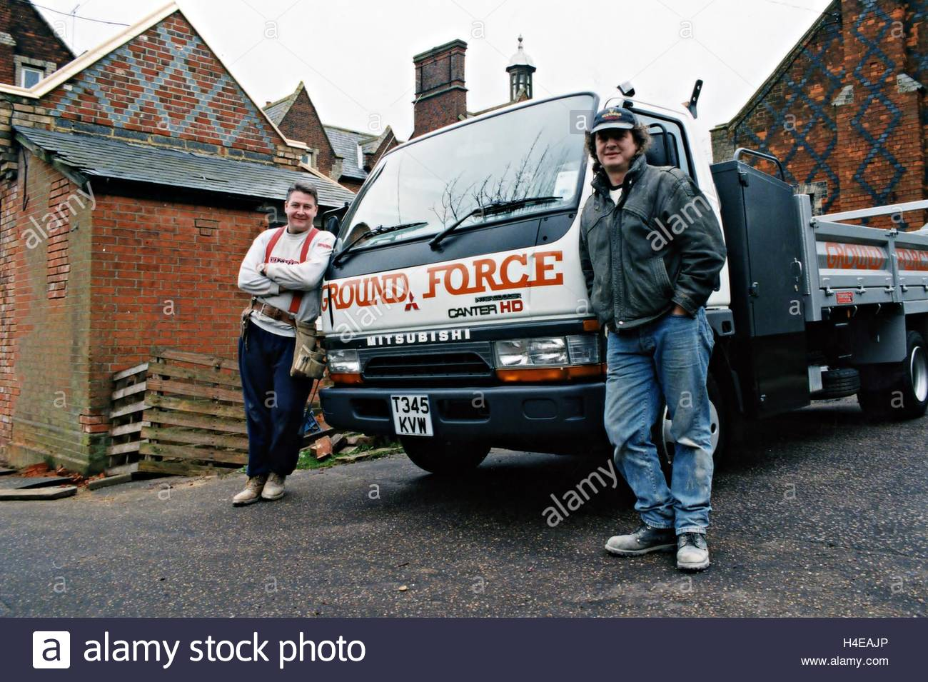 Tommy Walsh & Will Shanahan with the Groundforce Van. Stock Photo