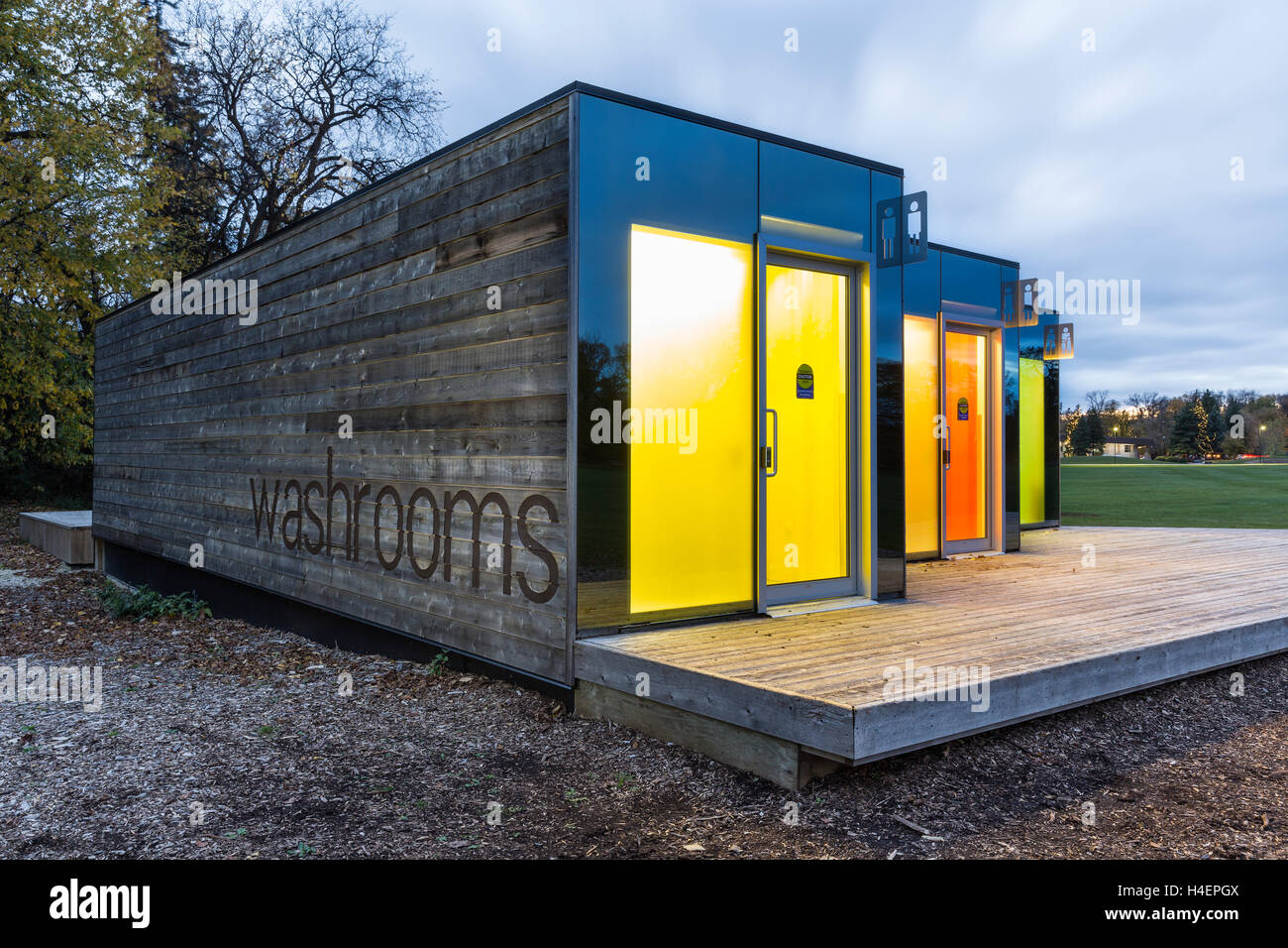 Shipping containers converted into washrooms assiniboine for Shipping container public bathroom