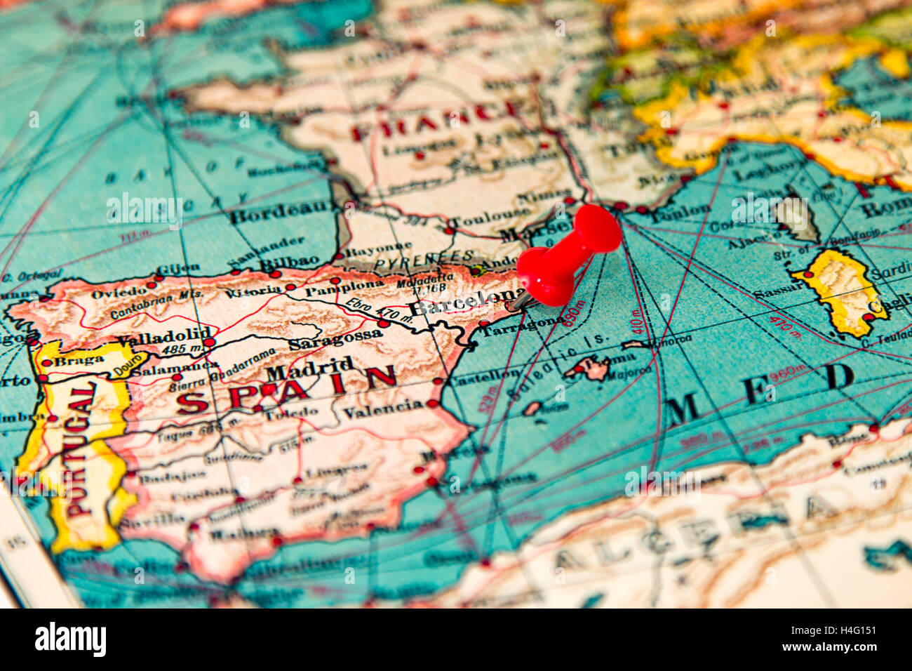 Barcelona spain pinned on vintage map of europe stock photo royalty free image 123283357 alamy - Mobles vintage barcelona ...