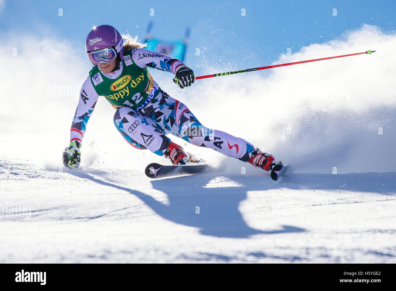 Solden, Austria. 22nd Oct, 2016. Michaela Kirchgasser of Austria competes during the first run of FIS World Cup Stock Foto