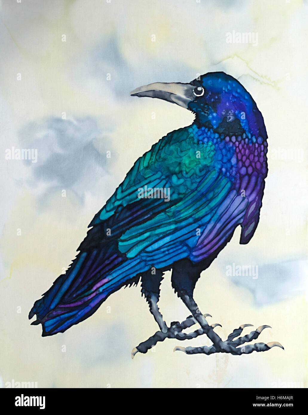 Photograph of silk painting of a rook bird against graded background using steam fixed dyes by Paula Chapman. Stock Photo