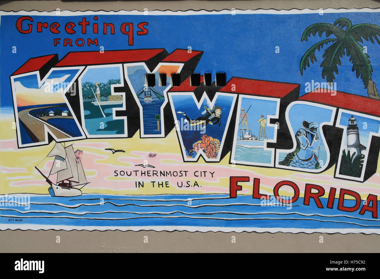 Key west florida mural painting greetings post card style for Clarks mural fresco