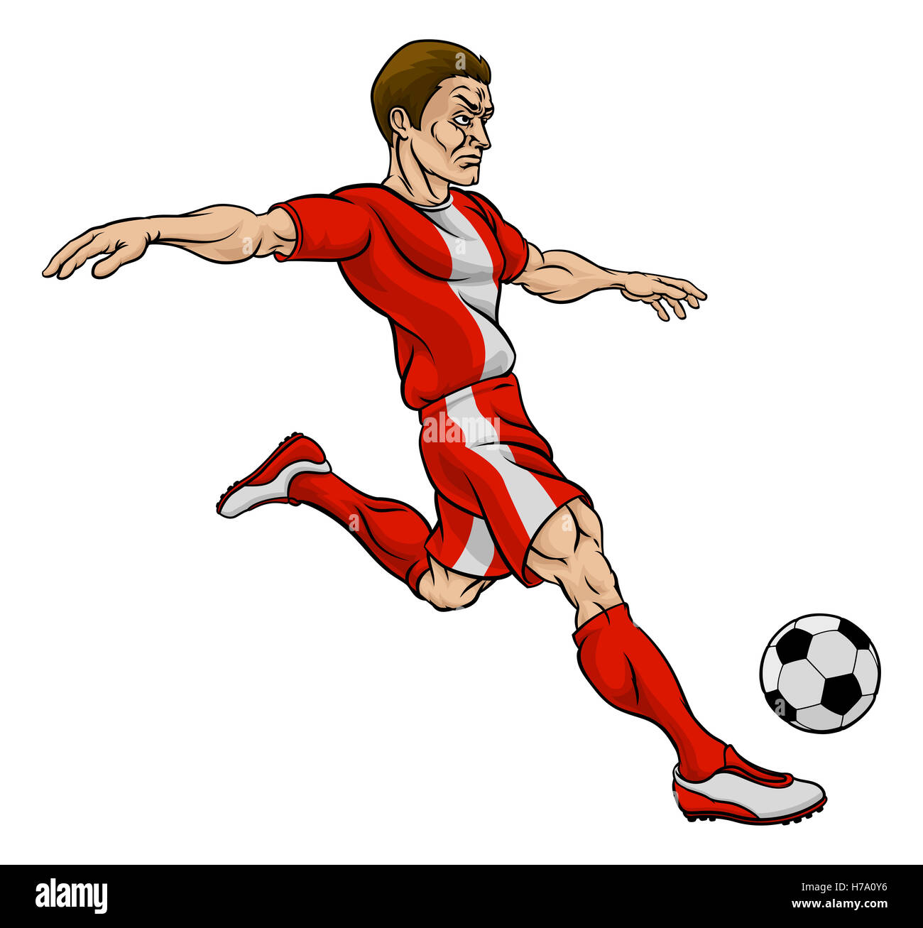 A cartoon football soccer player character kicking the ...