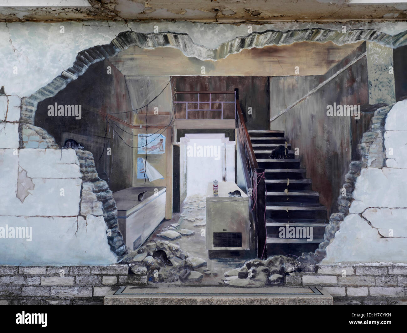 street art on wall of condemned building producing a 39 trompe l 39 oeil 39 stock photo royalty free. Black Bedroom Furniture Sets. Home Design Ideas