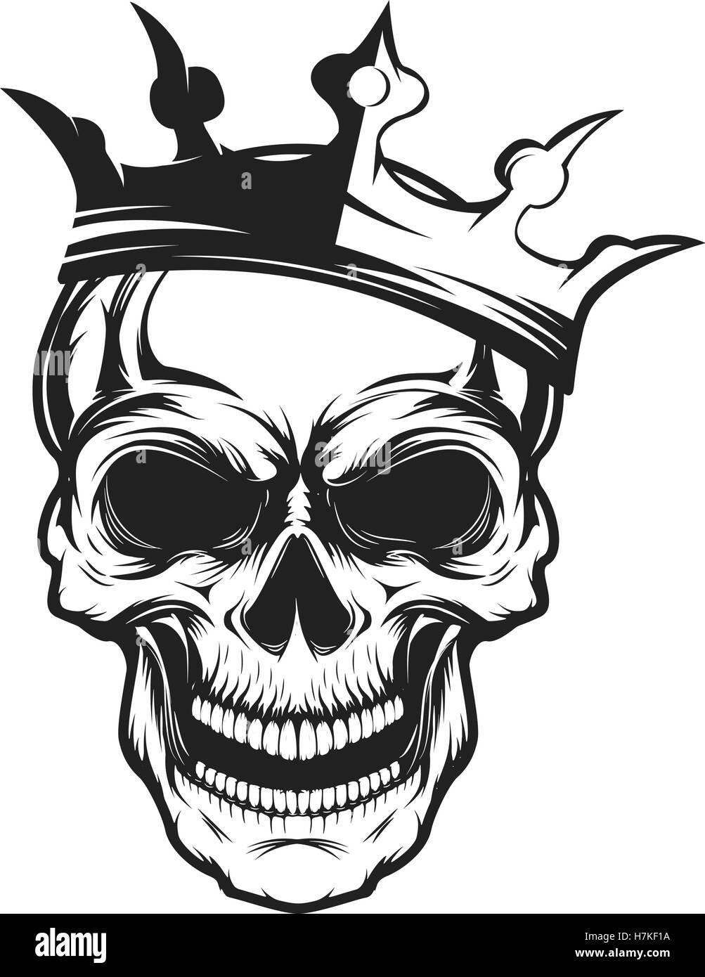 Skull with crown Design element for emblem, badge, sign, t shirt Stock Vector Art