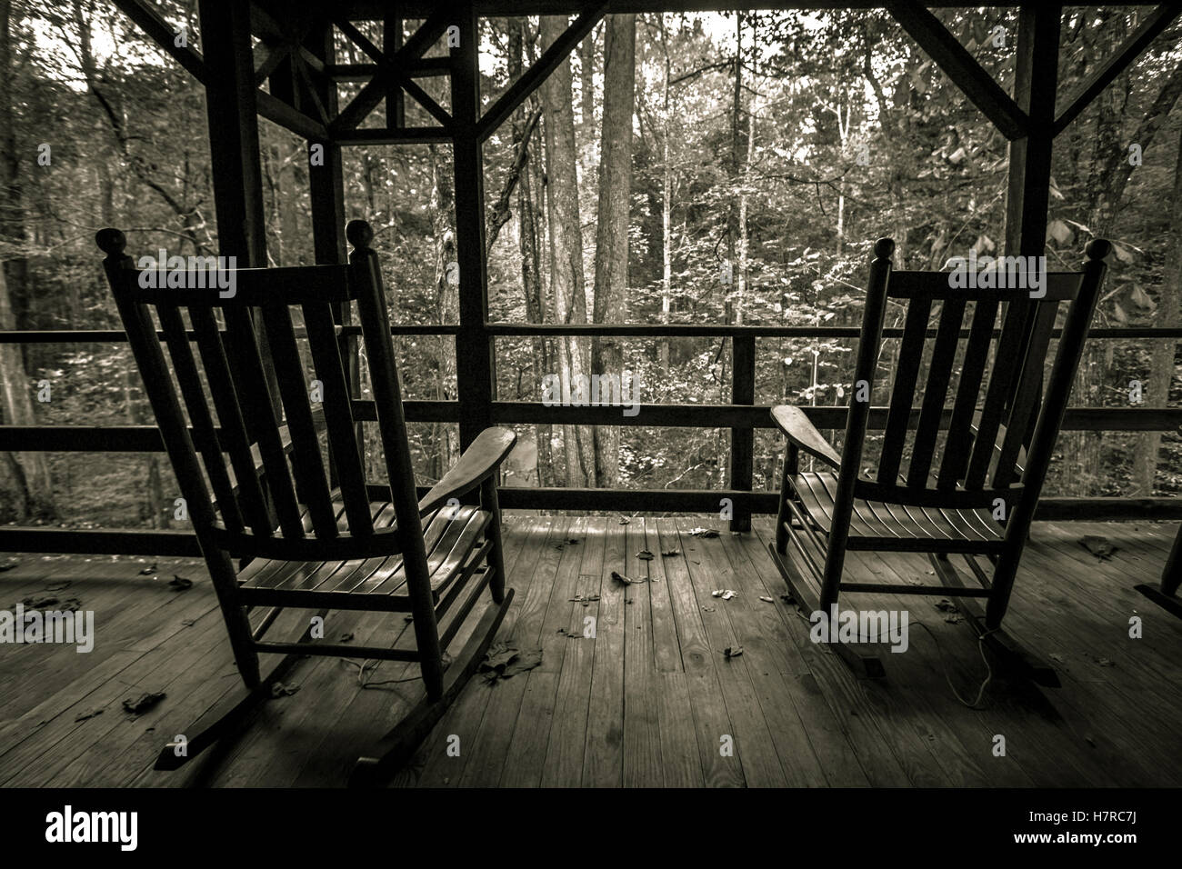 Empty Rocking Chairs On Front Porch Two Empty Wooden