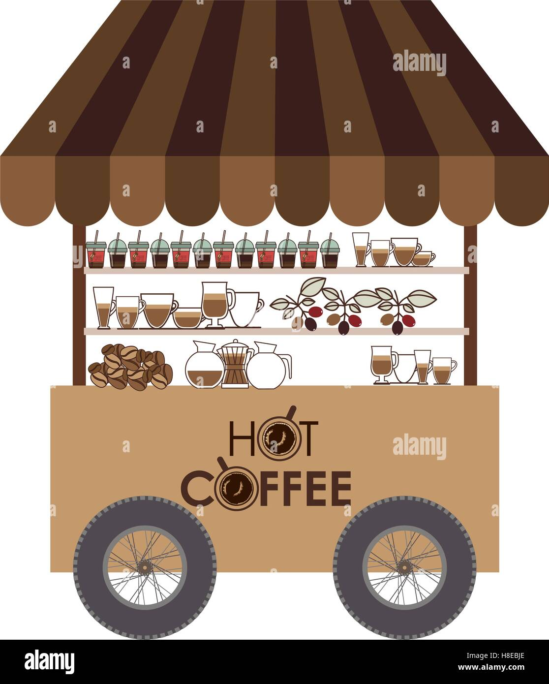 Coffee food cart icon over white background street for Coffee cart design