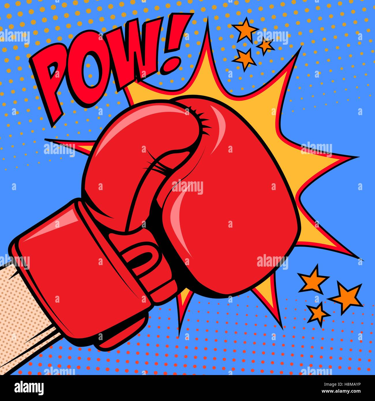 human hand in pop art style with boxing glove pow design