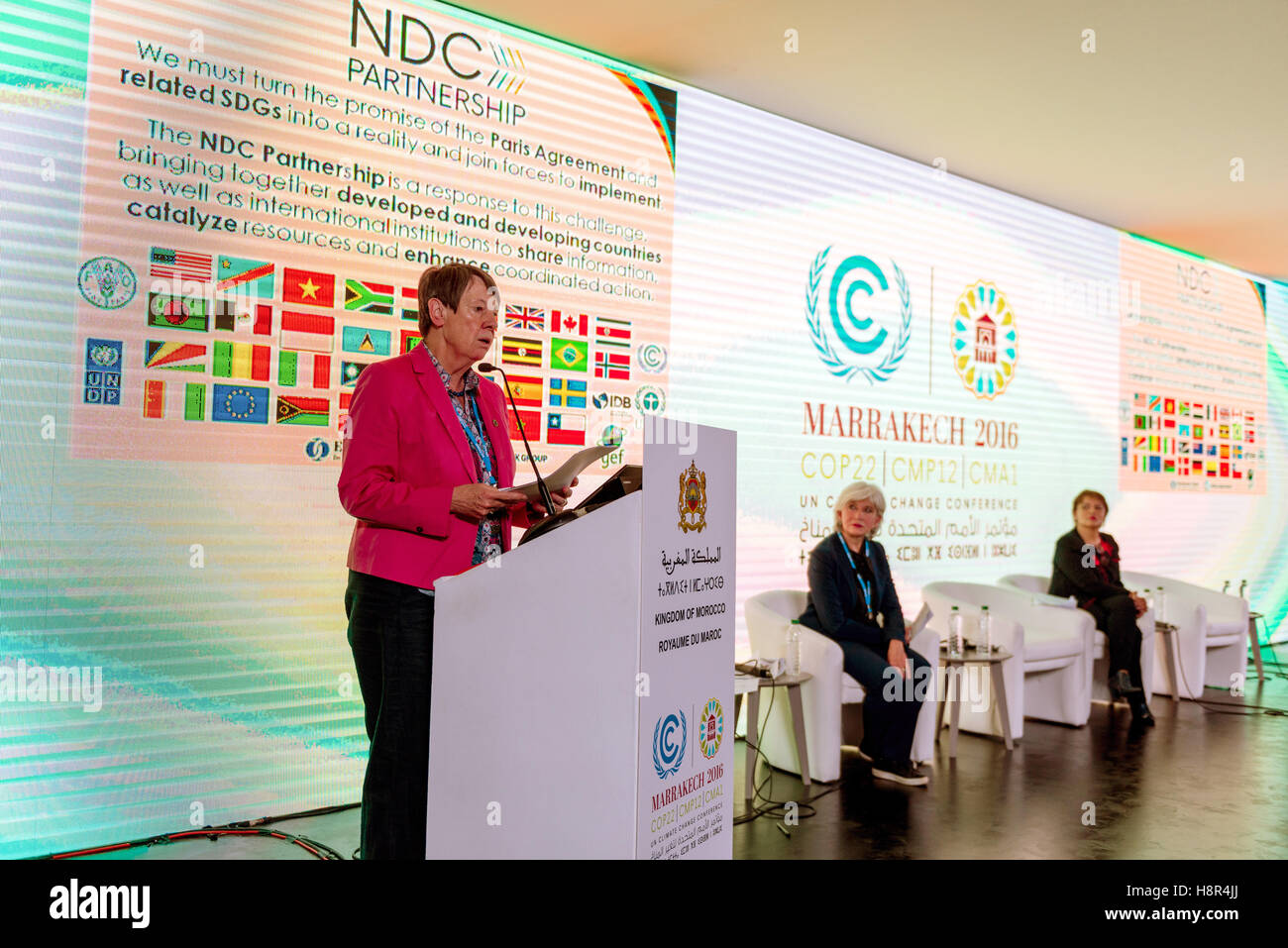 Marrakech, Morocco. 15th Nov, 2016. The German Federal Minister of the Environment Barbara Hendricks speaks at the Stock Photo
