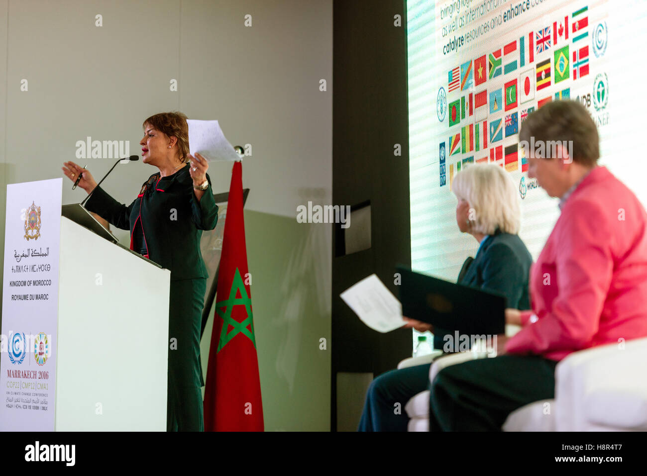 Marrakech, Morocco. 15th Nov, 2016. The Moroccan Minister of Environment Hakima El Haite speaks at the UN Climate Stock Photo