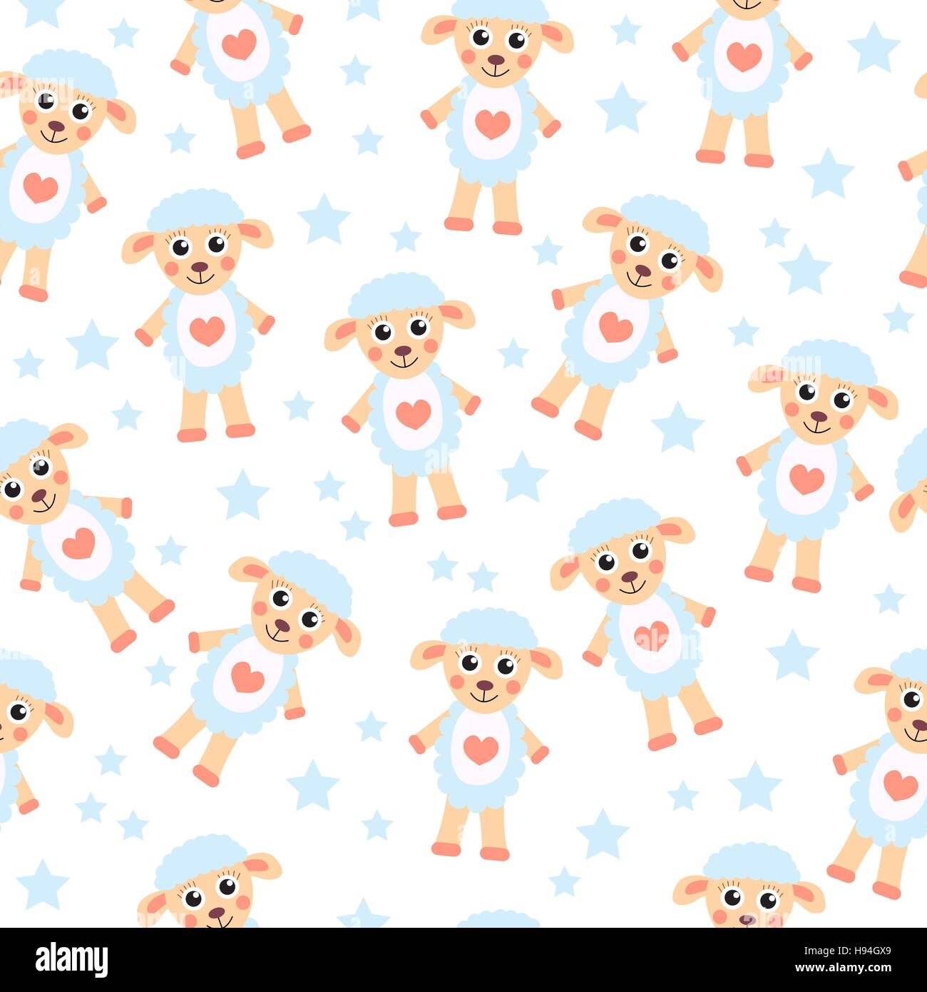 Cute cartoon sheep seamless texture children s background for Cute childrens fabric