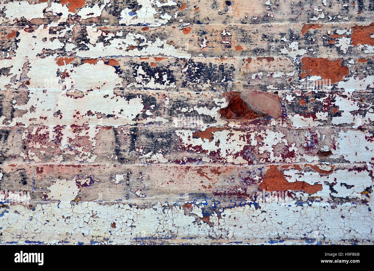 Old Layers Of Colorful Peeling Paint On Exterior Brick Wall Of A Stock Photo Royalty Free