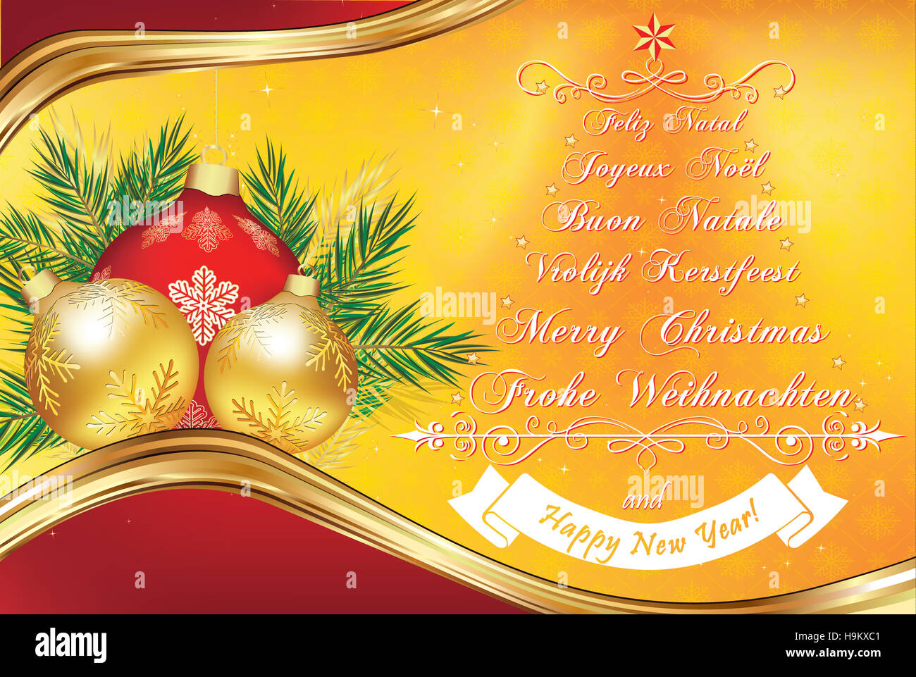 warm new year greeting card in many languages merry christmas in stock photo 126442289 alamy. Black Bedroom Furniture Sets. Home Design Ideas