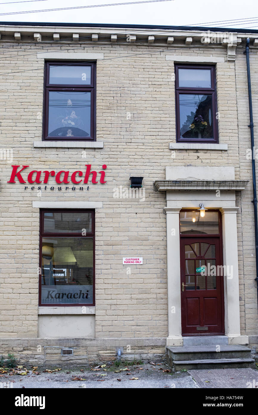 Karachi curry house, one of the first curry houses in Bradford, West Yorkshire. Stock Photo