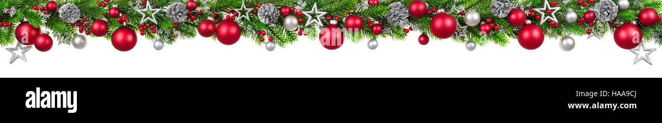 Advent Background Wallpaper >> Extra wide Christmas border with fir branches, red and silver Stock Photo, Royalty Free Image ...