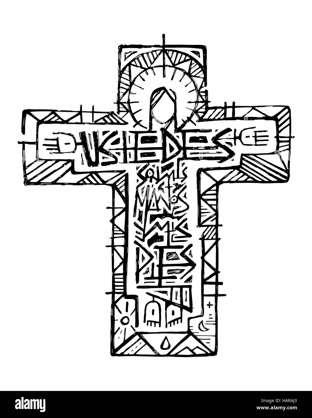 hand drawn vector illustration or drawing of jesus christ at the stock photo 127132379 alamy. Black Bedroom Furniture Sets. Home Design Ideas