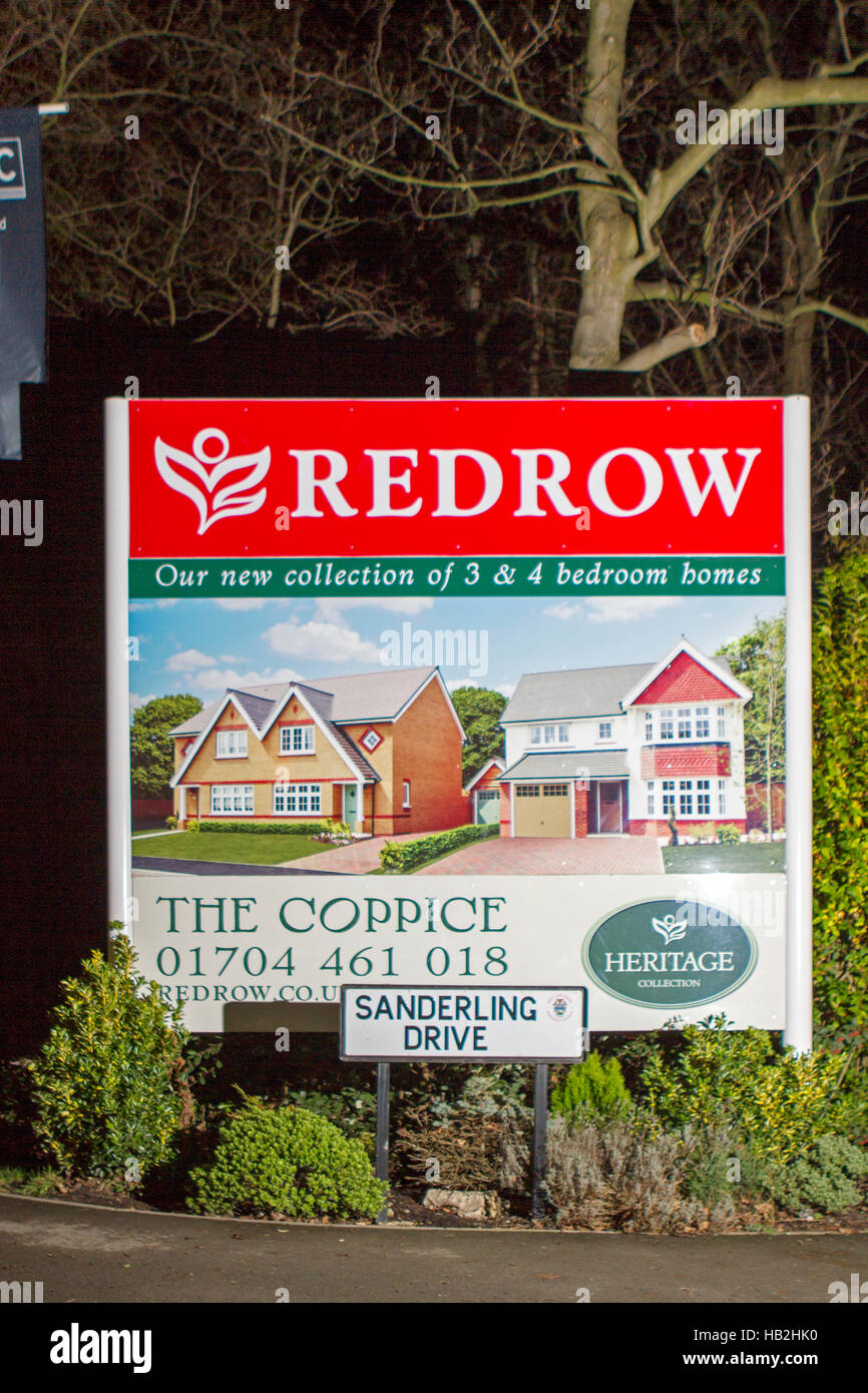 signs for a 39 redrow 39 new build houses construction site