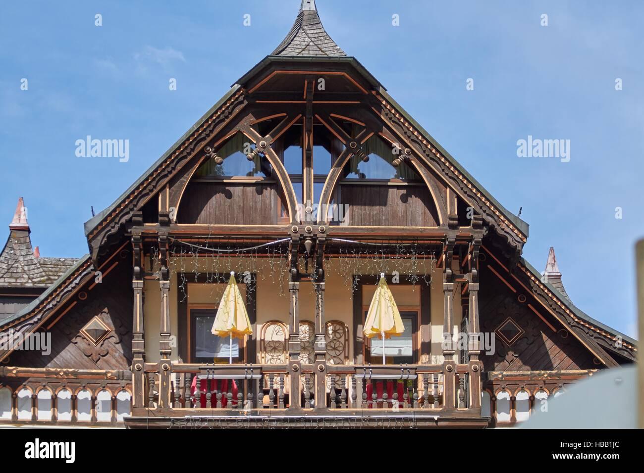 Black Forest: Old Hotel in Triberg Stock Foto