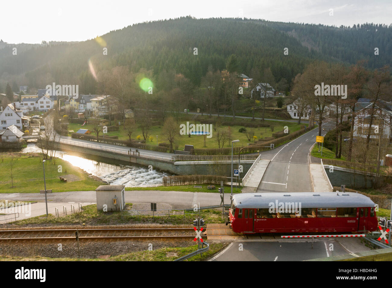 Old Railbus in Thuringia (Germany) Stock Foto