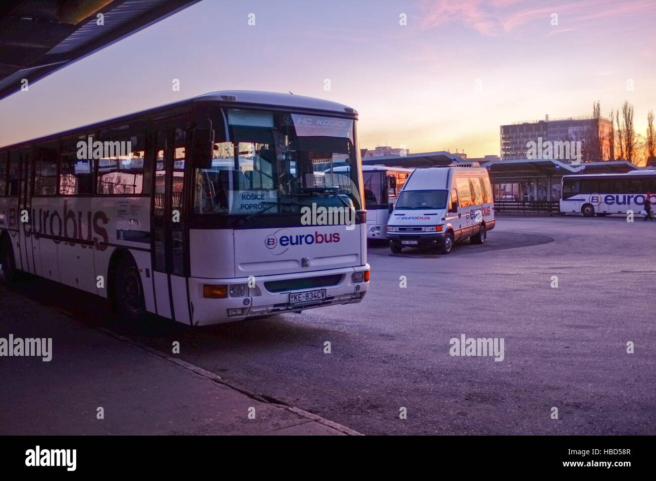 Bus station in Kosice (Slovakia) Stock Foto