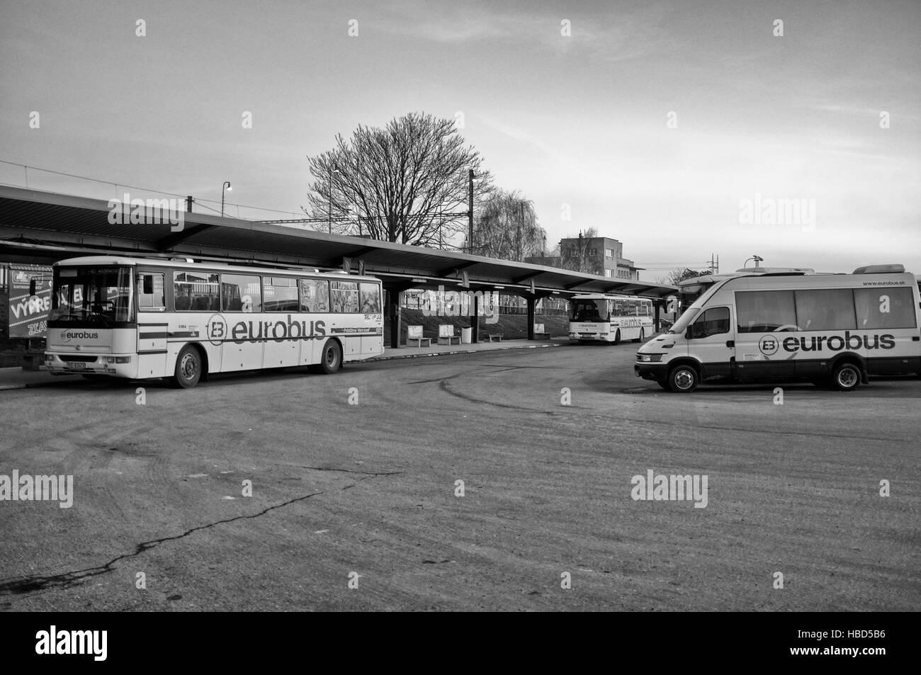 Bus station in Kosice (Slovakia) Stock Foto