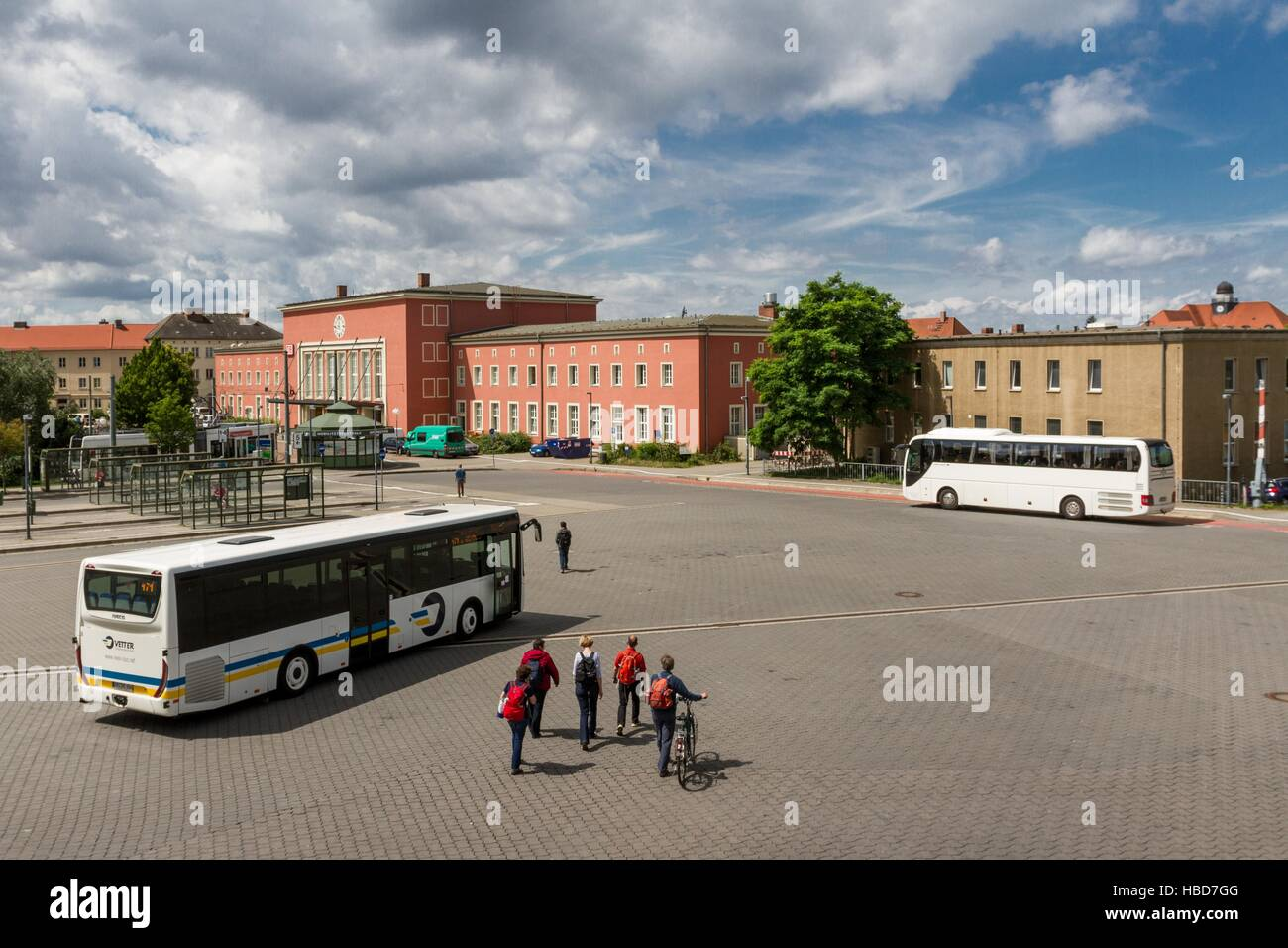 Bus meeting in Dessau Central Station Stock Foto