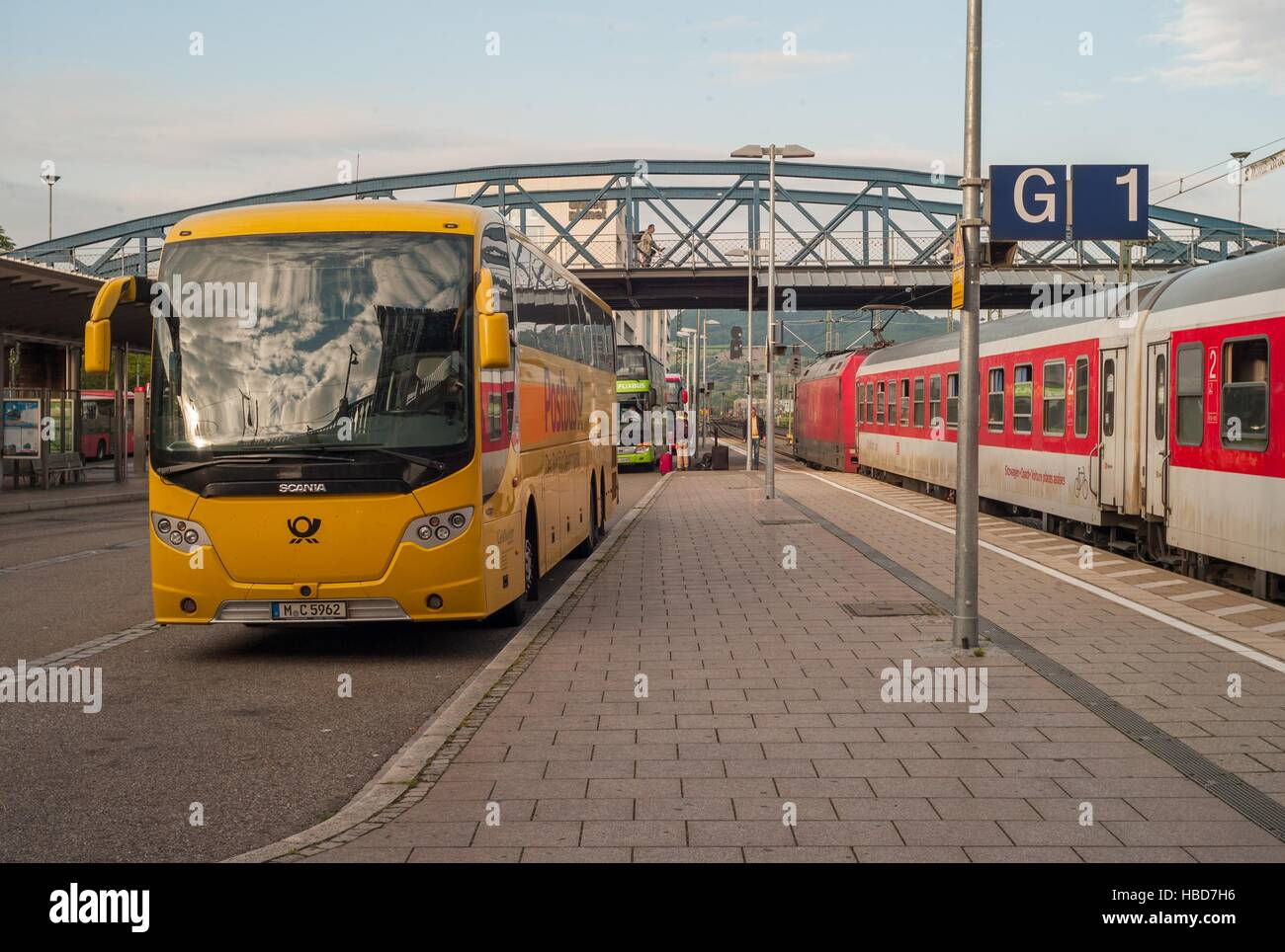 Express-Busses in Freiburg (Germany) Stock Foto