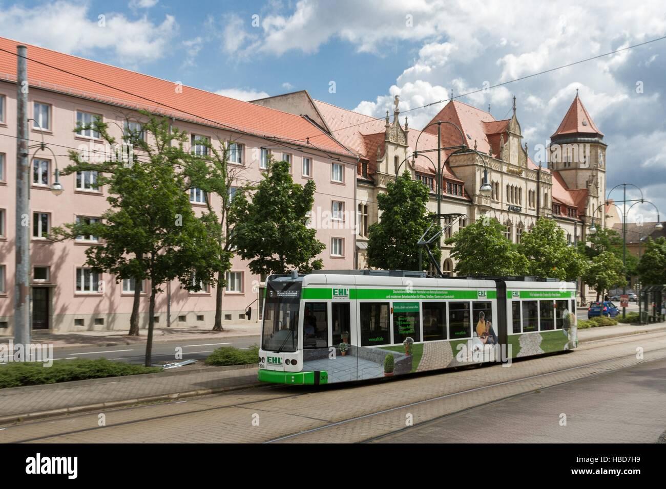 Tramway in Dessau Stock Foto
