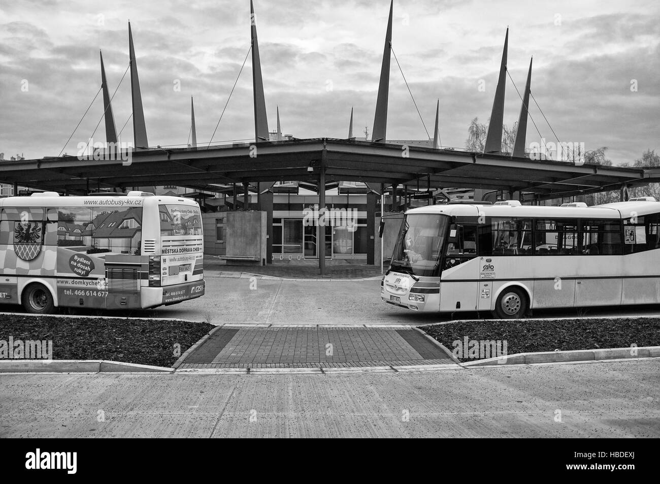 Bus station in Cheb (Czech Republic) Stock Foto