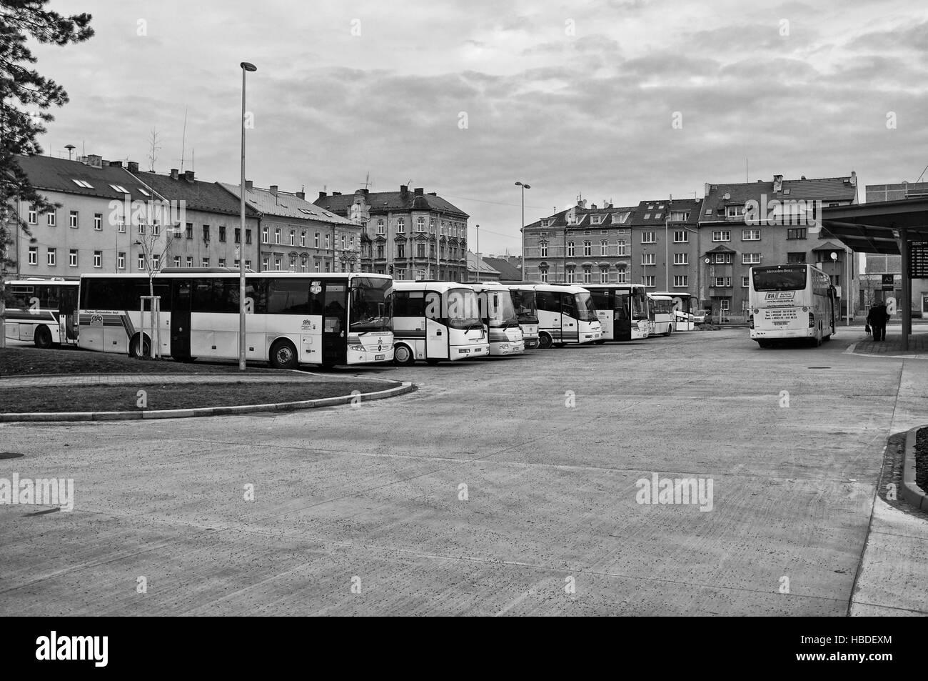 Bus station in Cheb (Czech Republic) Stock Foto