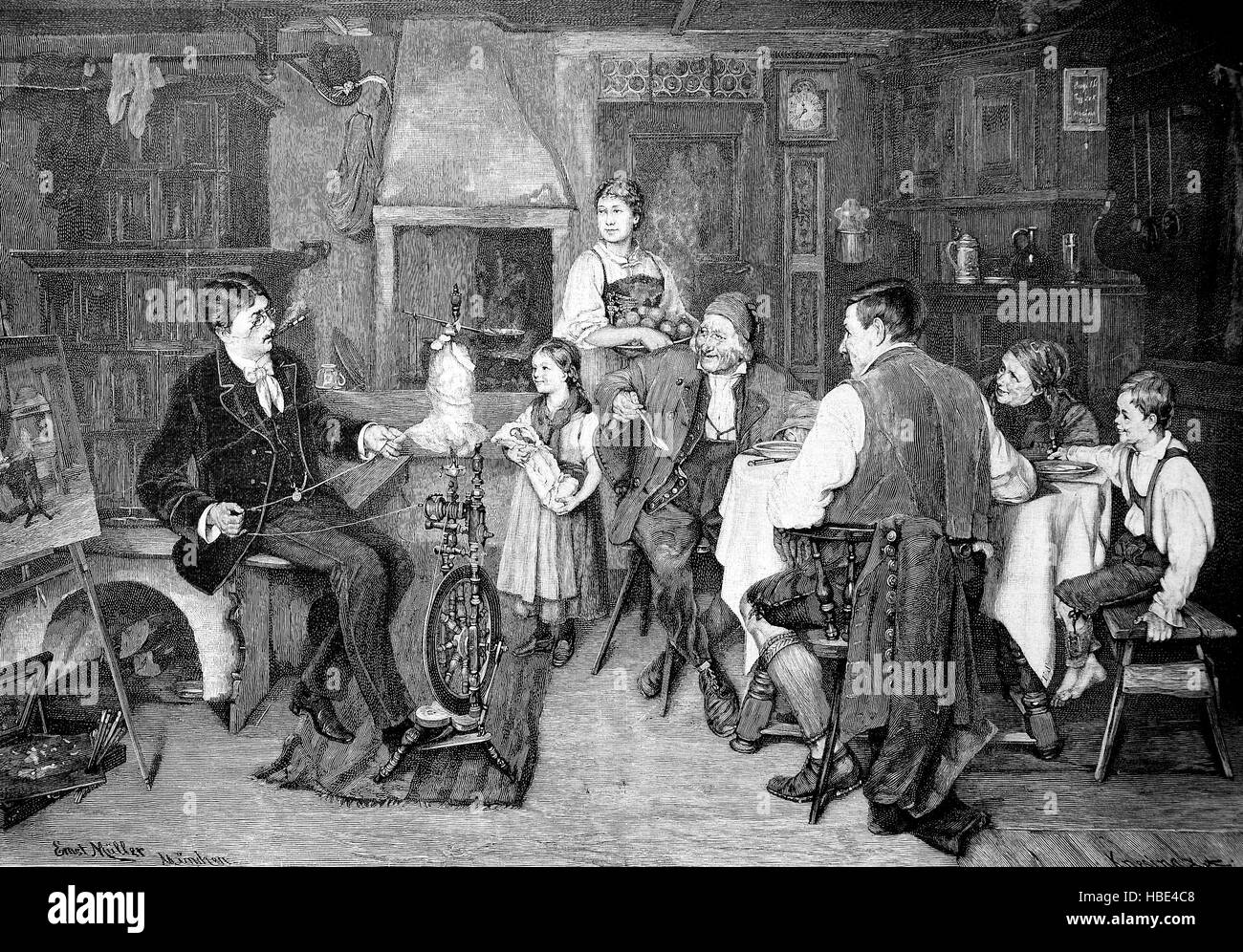 scene in a bourgeois living room in the 19th century a