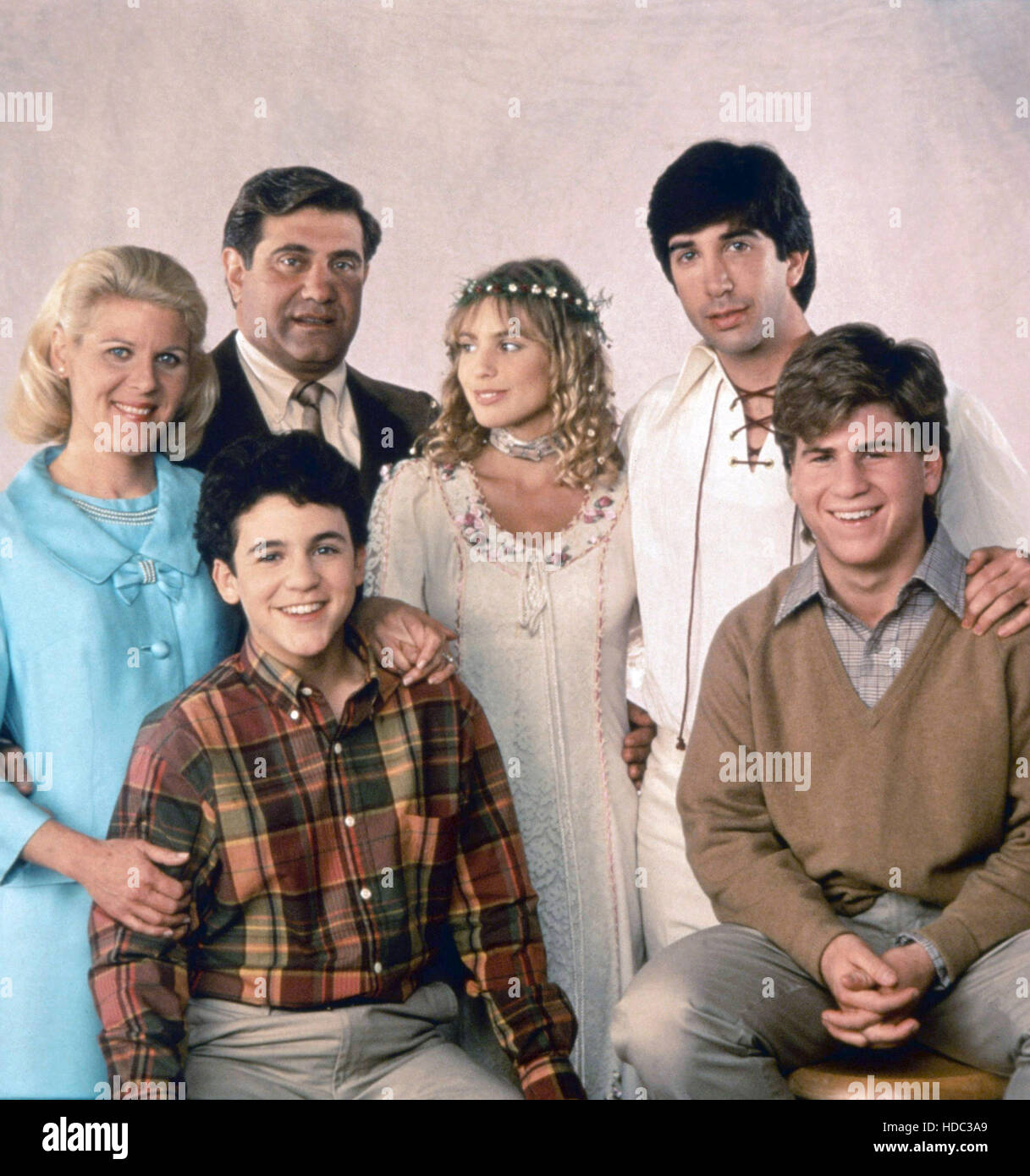 THE WONDER YEARS, from left: Ally Mills, Dan Lauria (rear), Fred Savage, Olivia d'Abo, David Schwimmer, Jason Hervey, Stock Photo