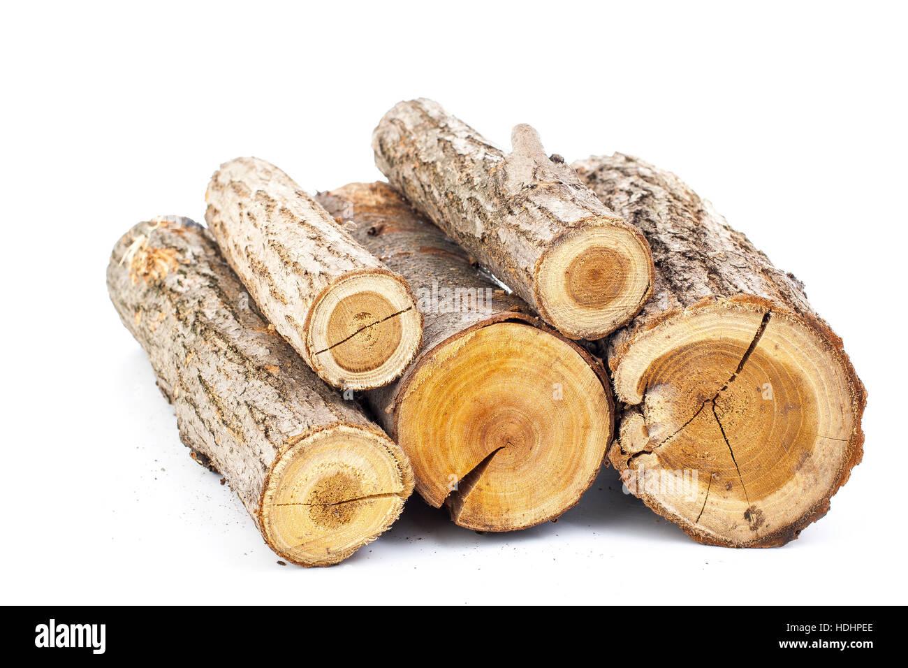 Pine logs on white background studio photo split wood