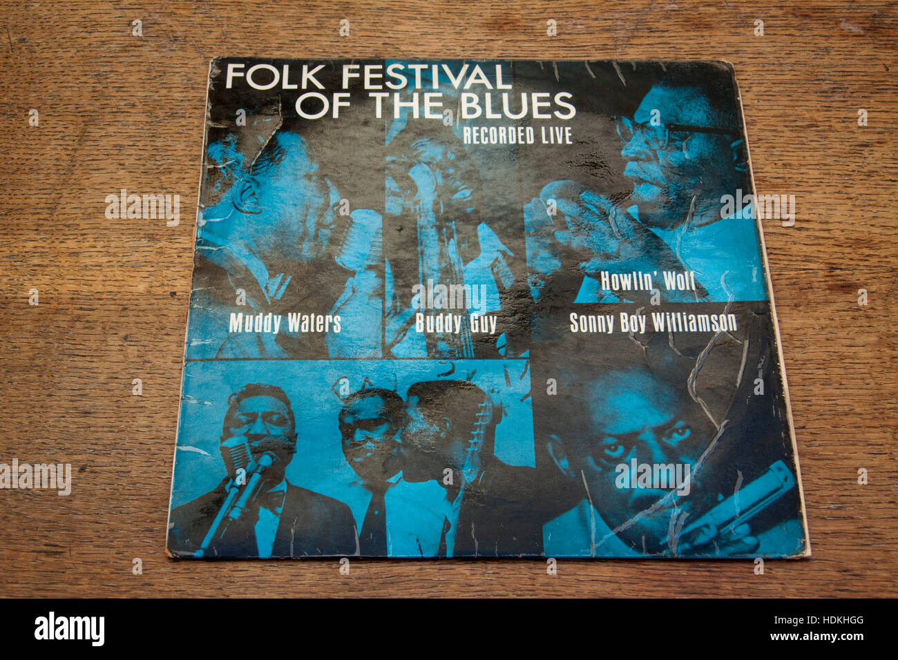 Cover of 1960s album Folk Festival of the Blues Stock Photo