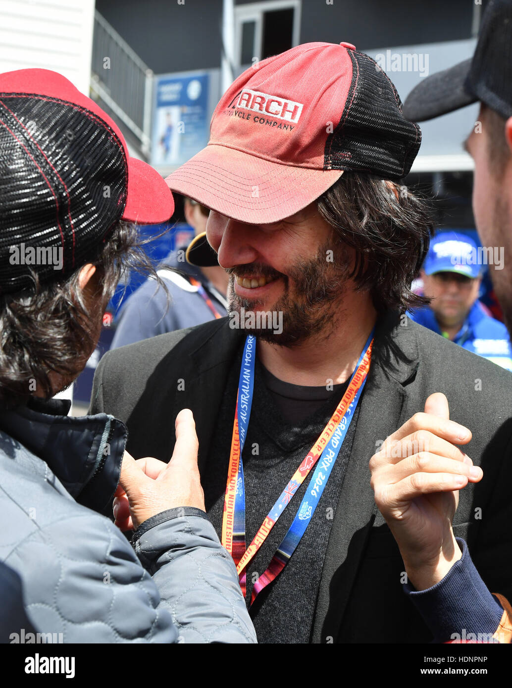 Keanu Reeves at the 2016 MotoGP of Australia at Phillip Island Grand Stock Photo, Royalty Free ...