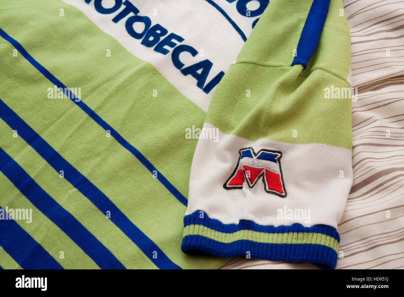 Cycling jersey of the French professional racing La Redoubte Motobecane detail Stock Photo