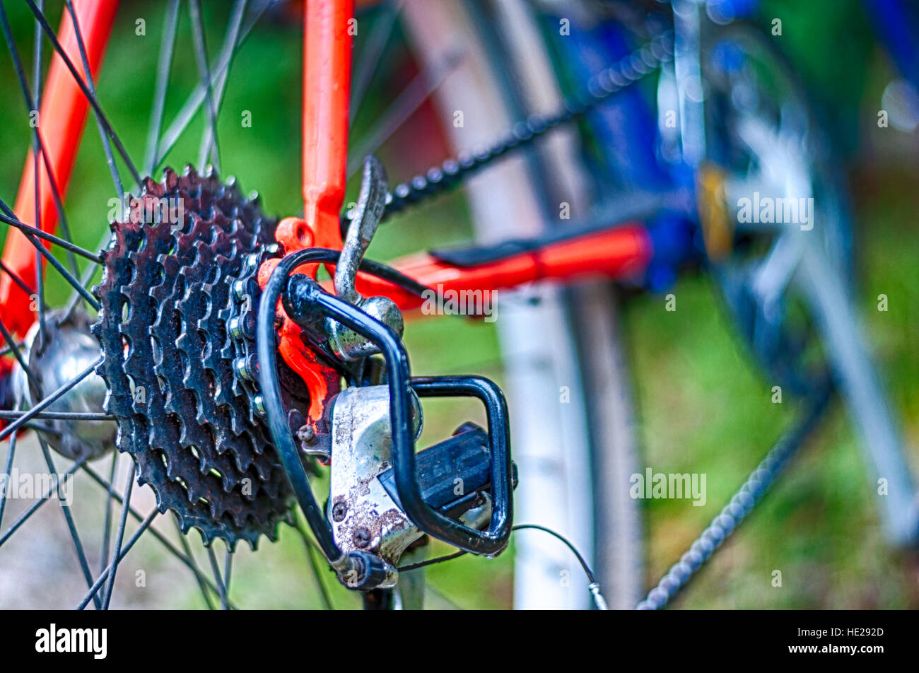 Closeup of mountain bike in the middle of country Stock Foto