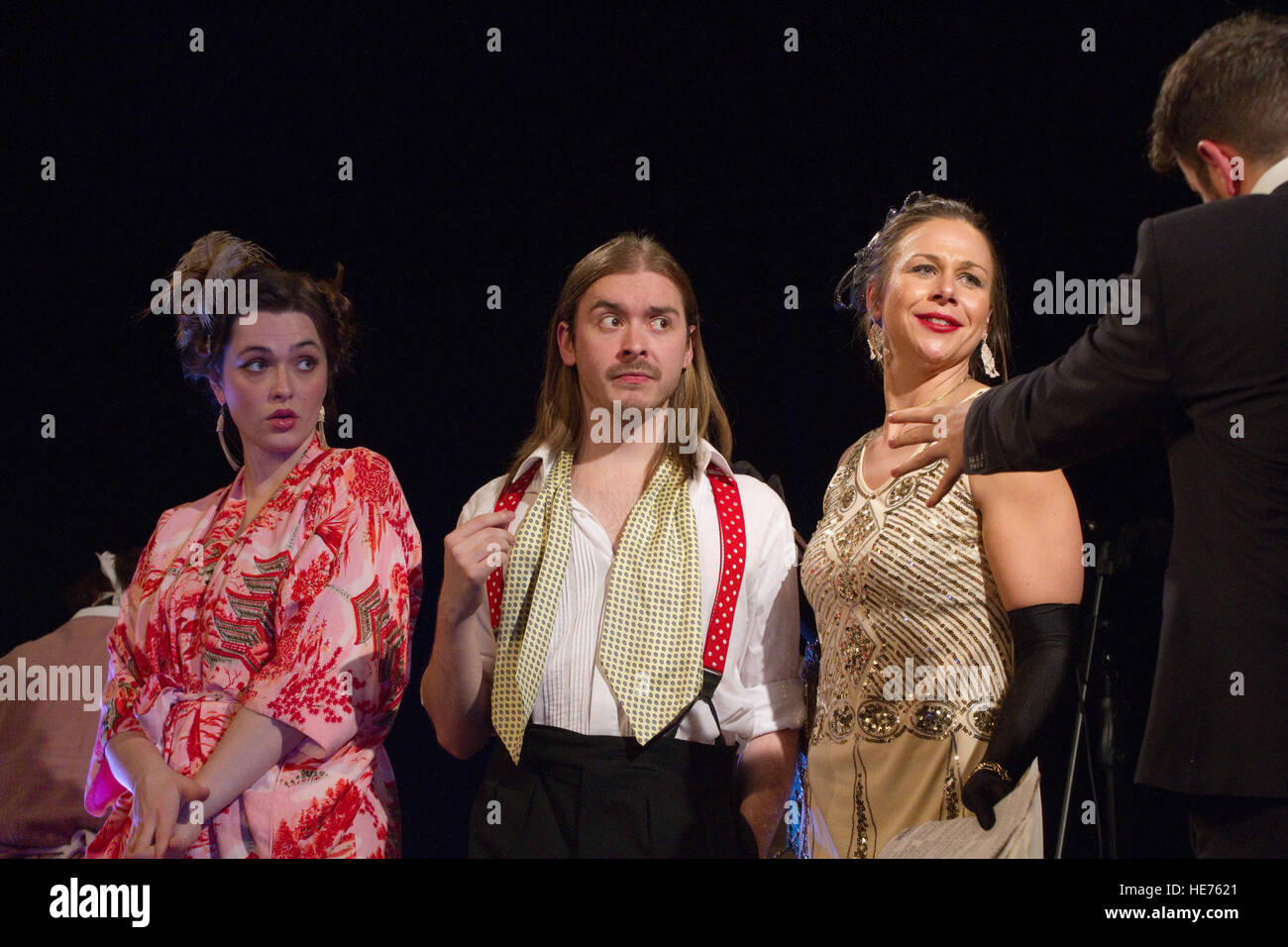 Members of the Yakety Yak company performing the comedy Hay Fever Stock Photo